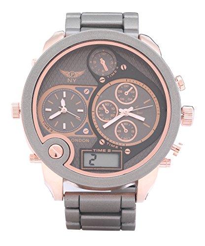 Men s Designer Triple Time Grau Rose Gold Metall Strap Watch Digital Analog Quarz zusaetzlichen Akku