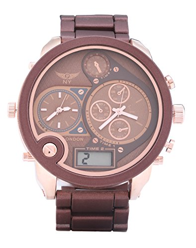 Men s Designer Triple Time Braun Rose Gold Metall Strap Watch Digital Analog Quarz zusaetzlichen Akku