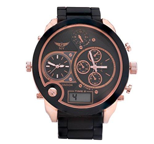 Men s Designer Triple Time Schwarz Rose Gold Metall Strap Watch Digital Analog Quarz zusaetzlichen Akku