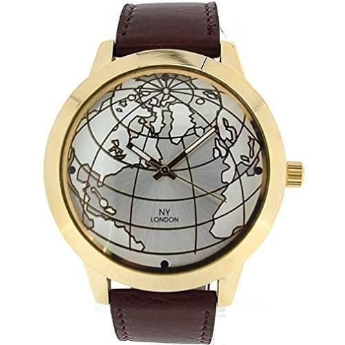 NY Lodon - Neu Herren Globus Vergoldete Armbanduhr Braunes PU Leder Armbanduhr