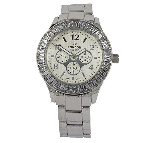 NY London Frauen s Crystal Jewel Luenette Silber Metall Armband Wrist Watch Analog Quarz Falte ueber Spange zusaetzlichen Akku