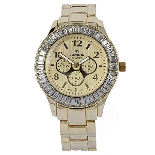 NY London Frauen s Crystal Jewel Luenette Gold Metall Armband Wrist Watch Analog Quarz Falte ueber Spange zusaetzlichen Akku