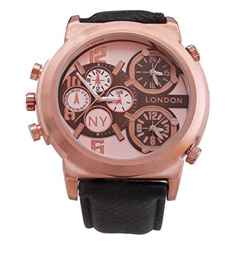 Men s NY London Rose Gold Luenette dunkelbraunem Leder Armband Triple Time Zone Chronograph Luxury Watch Analog Quarz zusaetzlichen Akku