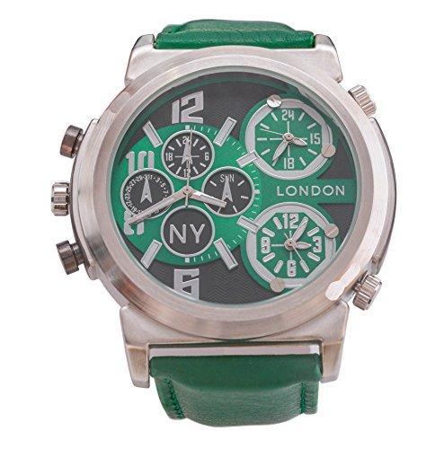 Men s NY London Silber Blende flaschengruen Leder Armband Triple Time Zone Chronograph Luxury Watch Analog Quarz zusaetzlichen Akku