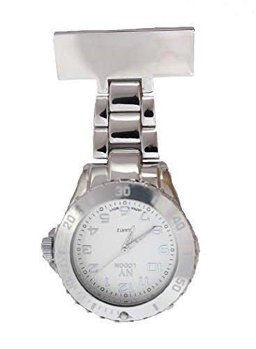 NY London Herren Damen Metall Silber Farbig Krankenschwester Arzt Sanitaeter Tunika Brosche Uhr