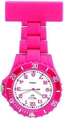 Prince NY London Tief Rosa Silikon Gummi Kunststoff Krankenschwester Taschenuhr Krankenschwester Brosche In Koeniglisch Tief Rosa Farbe