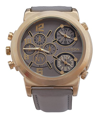 Men s NY London Gold Luenette graues Leder Armband Triple Time Zone Chronograph Luxury Watch Analog Quarz zusaetzlichen Akku