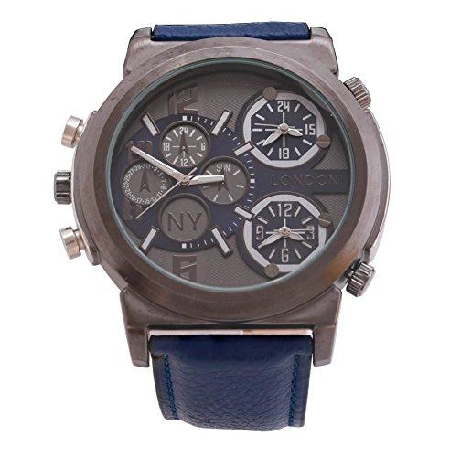 Men s NY London Gun schwarze Blende marineblauem Leder Armband Triple Time Zone Chronograph Luxury Watch Analog Quarz zusaetzlichen Akku