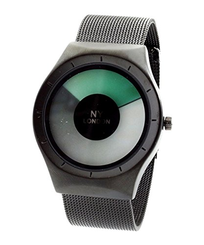 NY London Men s Metallgewebe Strap schwarz gruene LED Anzeige Luxus Quarz Flexible Verschluss Extra Uhrenbatterie