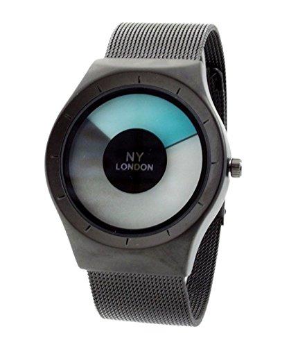 NY London Men s Metallgewebe Strap schwarz blau LED Anzeige Luxus Quarz Flexible Verschluss Extra Uhrenbatterie