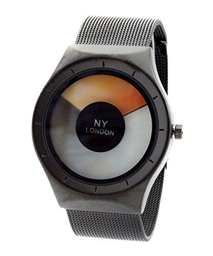 NY London Men s Metallgewebe Strap schwarz orange LED Anzeige Luxus Quarz Flexible Verschluss Extra Uhrenbatterie