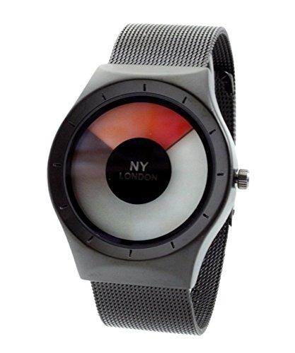 NY London Men s Metallgewebe Strap schwarz rot LED Anzeige Luxus Quarz Flexible Verschluss Extra Uhrenbatterie