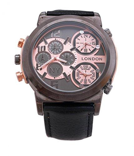Men s NY London Gun schwarze Blende schwarz Leder Armband Triple Time Zone Chronograph Luxury Watch Analog Quarz zusaetzlichen Akku