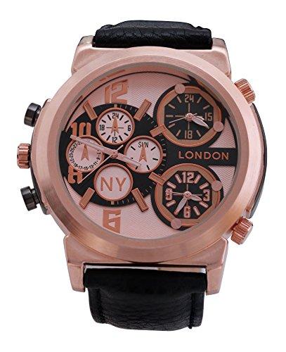 Men s NY London Rose Gold Luenette schwarzes Leder Armband Triple Time Zone Chronograph Luxury Watch Analog Quarz zusaetzlichen Akku