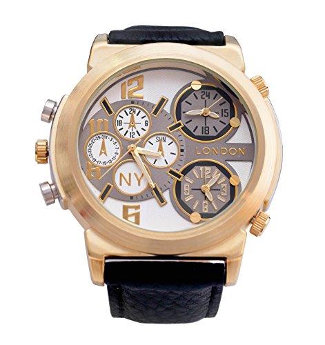 Men s NY London Gold Luenette schwarzes Leder Armband Triple Time Zone Chronograph Luxury Watch Analog Quarz zusaetzlichen Akku