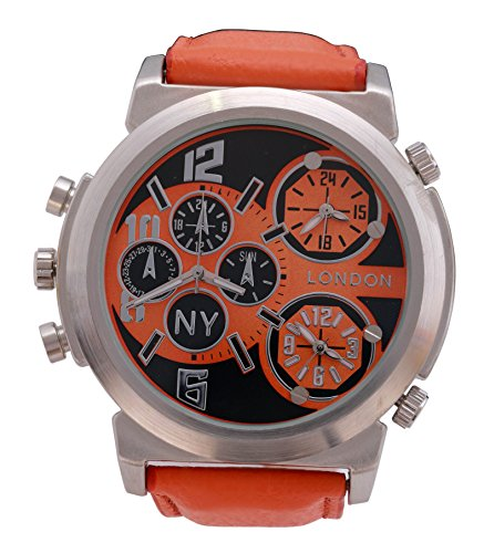 Men s NY London silberne Luenette Orange Leder Armband Triple Time Zone Chronograph Luxury Watch Analog Quarz zusaetzlichen Akku