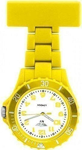 Prince NY London Orange Silikon Gummi Plastik Taschenuhr Krankenschwester Uhr in Gelb Farbe