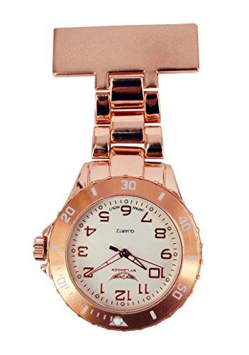 NY London Taschenuhr Herren Damen Metall Rotgold Krankenschwester Doktor Sanitaeter Tunika Brosche Uhr