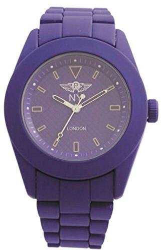 NY London Unisex lila gummierte Metal Watch gemusterte Gesicht Analog Quarz Z Spange zusaetzlichen Akku