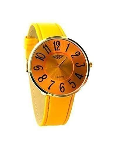 NY London Prince Damen Armbanduhr Gelb Vergoldet Maedchen Uhr Slim Ziffernblatt Band & Ziffernblatt In Farbe