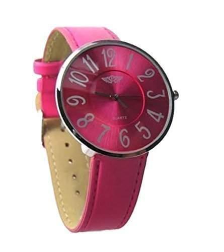 Armbanduhr Uhr NY London Prince Damen Maedchen pink versilbert schlankes Ziffernblatt buntes Armband & Ziffernblatt