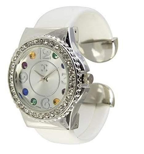 UEber das Element schoene NY London weiss Diamante Runde Gesicht Damen Armband Armreif Uhr zahlen In das Zifferblatt