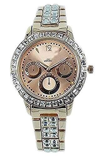 Ny London Damen Diamnte Gesicht Rosen Gold Beschichtet Designer Jeweled Armbanduhr Chronograph Mit Einem Zusaetzlichen Akku