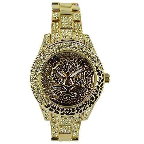 NY London Damen Tiger Ziffernblatt Gold ueberzogener Diamante Designer Schmuckuhr PI-7211 Mit Eine Extra Batterie  Akku