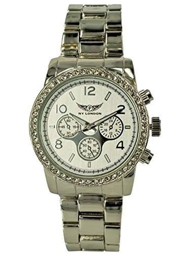 NY London Designer Damenuhr,Damen Strass Uhr in Chronograph Optik,Silber