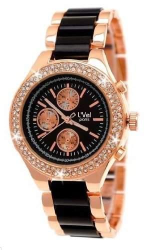 NY London Designer Damenuhr,Exclusive Damen Strass Uhr in Chronograph Optik,Schwarz,Rose Gold,inklUhrenbox,Geschenkbox,C9