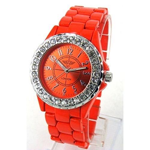 Prinz NY London Frauen s Orange Metall Armband Gesicht Crystal Jewel Diamante Luenette Watch Analog Quarz Falte ueber Spange zusaetzlichen Akku