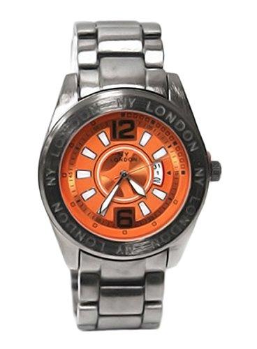 Prinz NY London Luxus grosse stilvolle Herren Herren Stahl Metall Wrist Watch Analog Quarz mit einem zusaetzlichen Akku