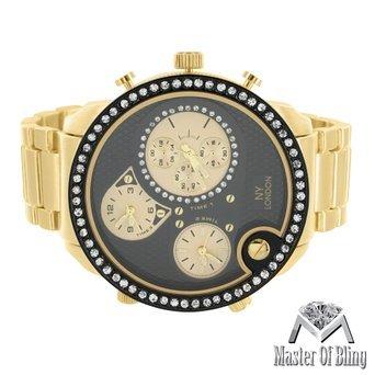 Gross Schwarz Zifferblatt Armbanduhr Herren Luxus Stil 14 K Ton Stahl Rueckseite 3 Time Zone
