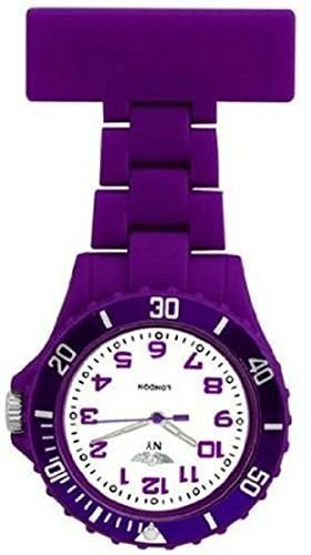 Taschenuhr Uhr Prince NY London Violett Silikon Gummi Plastik fuer Krankenschwestern Royales Violett