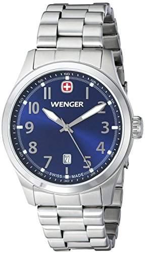 Wenger Seaforce MenHerren Quarzuhr mit blauem Zifferblatt Analog-Anzeige und Silber-Edelstahl-Armband 010541118