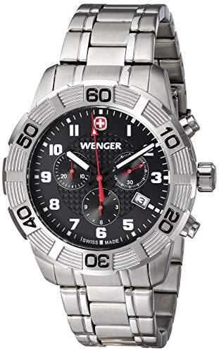 Wenger Herren-Armbanduhr XL Roadster Chrono Analog Quarz Edelstahl 010853102