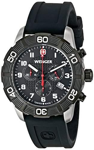 Wenger Herren-Armbanduhr XL Roadster Chrono Analog Quarz Silikon 010853104