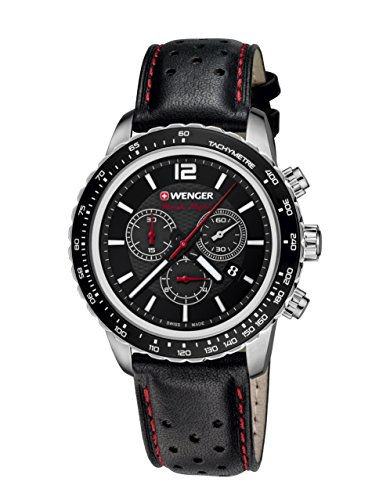 WENGER Unisex Armbanduhr 01 0853 105 ROADSTER BLACK NIGHT CHRONO Analog Quarz Leder 01 0853 105 ROADSTER BLACK NIGHT CHRONO