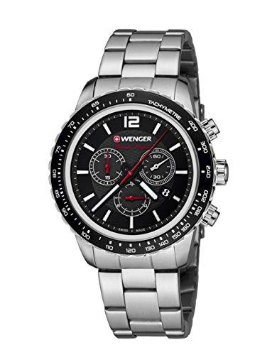 WENGER Unisex Armbanduhr 01 0853 107 ROADSTER BLACK NIGHT CHRONO Analog Quarz Edelstahl 01 0853 107 ROADSTER BLACK NIGHT CHRONO