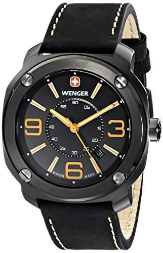 Wenger Herren-Armbanduhr XL Escort Analog Quarz Leder 011051106