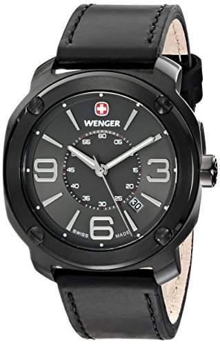 Wenger Herren-Armbanduhr XL Escort Analog Quarz Leder 011051108