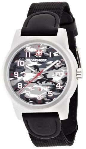wenger Herren-Armbanduhr camo Analog Nylon Schwarz 010441108