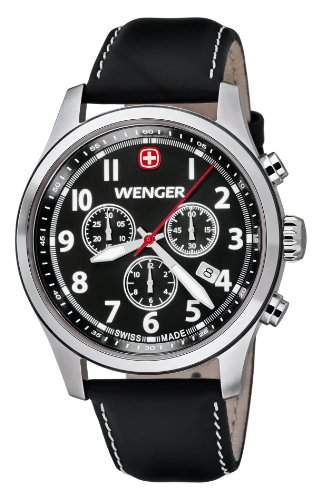 Wenger Herren-Armbanduhr XL Terragraph Chronograph Quarz Leder 015431101