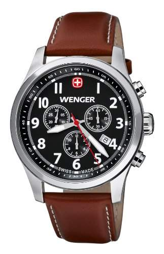 Wenger Herren-Armbanduhr XL Terragraph Chronograph Quarz Leder 015431102