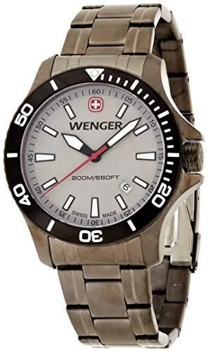 Wenger Herren-Armbanduhr XL Seaforce Analog Quarz Edelstahl beschichtet 010641107