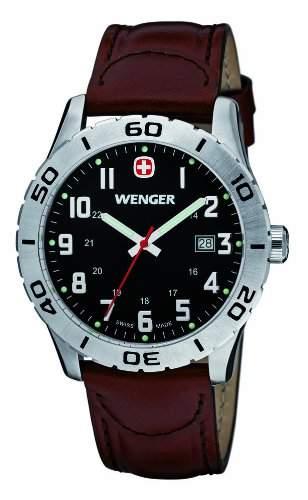 Wenger Herren-Armbanduhr XL Grenadier Analog Quarz Leder 010741103