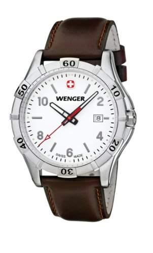 Wenger Herren-Armbanduhr XL Platoon Analog Quarz Leder 019411101
