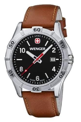 Wenger Herren-Armbanduhr XL Platoon Analog Quarz Leder 019411103
