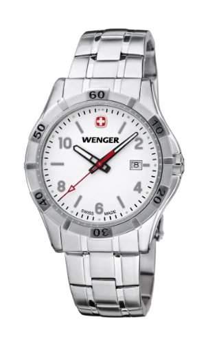 Wenger Herren-Armbanduhr XL Platoon Analog Quarz Edelstahl 019411102