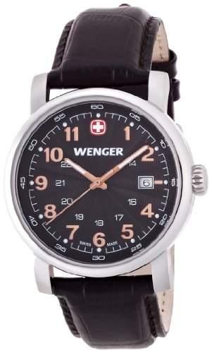 Wenger Herren-Armbanduhr XL Urban Classic Analog Quarz Leder 011041104